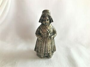 "Antique 4"" Tall Silver Figural Dutch Girl Shaker Older Not Polished Missing Hat"