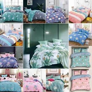Luxury-Duvet-Set-100-Cotton-Quilt-Cover-Pillowcase-Bedding-Set-All-Size-Floral