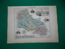 PAS-DE-CALAIS CARTE ATLAS MIGEON Edition 1885, Carte + fiche descriptive
