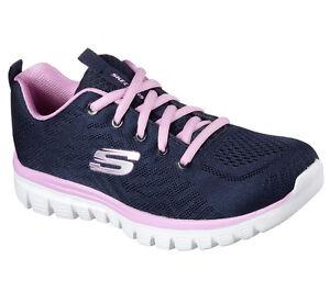 12615 Get Connected Navy Pink Skechers