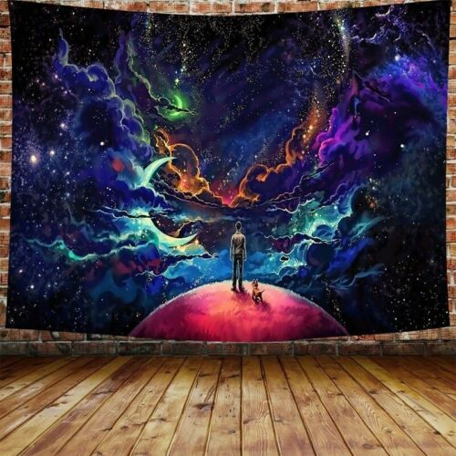 Psychedelic Hippie Starry Sky Human Puppy Tapestry Wall Hanging Home DIY Decor