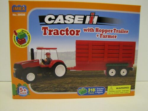 Imex Case IH Toy Farm Tractor with Hopper Trailer & Farmer 318 Piece Block Set