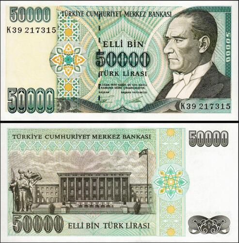 UNC  P 204 TURKEY 50000 50,000 LIRA 1970 K PREFIX 1995