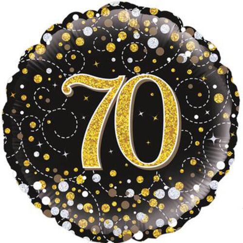 """Cumpleaños 70 Negro Brillante Fizz 18/"""" 70th globo de la Hoja Decoración Fiesta De Cumpleaños"""