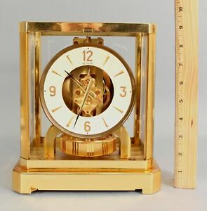Modernist-Vintage-LECOULTRE-ATMOS-Perpetual-Gold-Gilt-Brass-Clock-15-Jewels-NR
