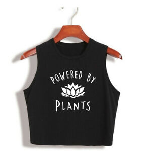 d5ab278f Powered by Plants Womens Cropped T Shirt Vegan Animal Lover Tank Top ...