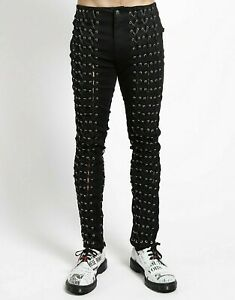 Tripp NYC Limited Edition Black Medieval Lace-Up Jeans Goth Punk Emo IS597M-BLK