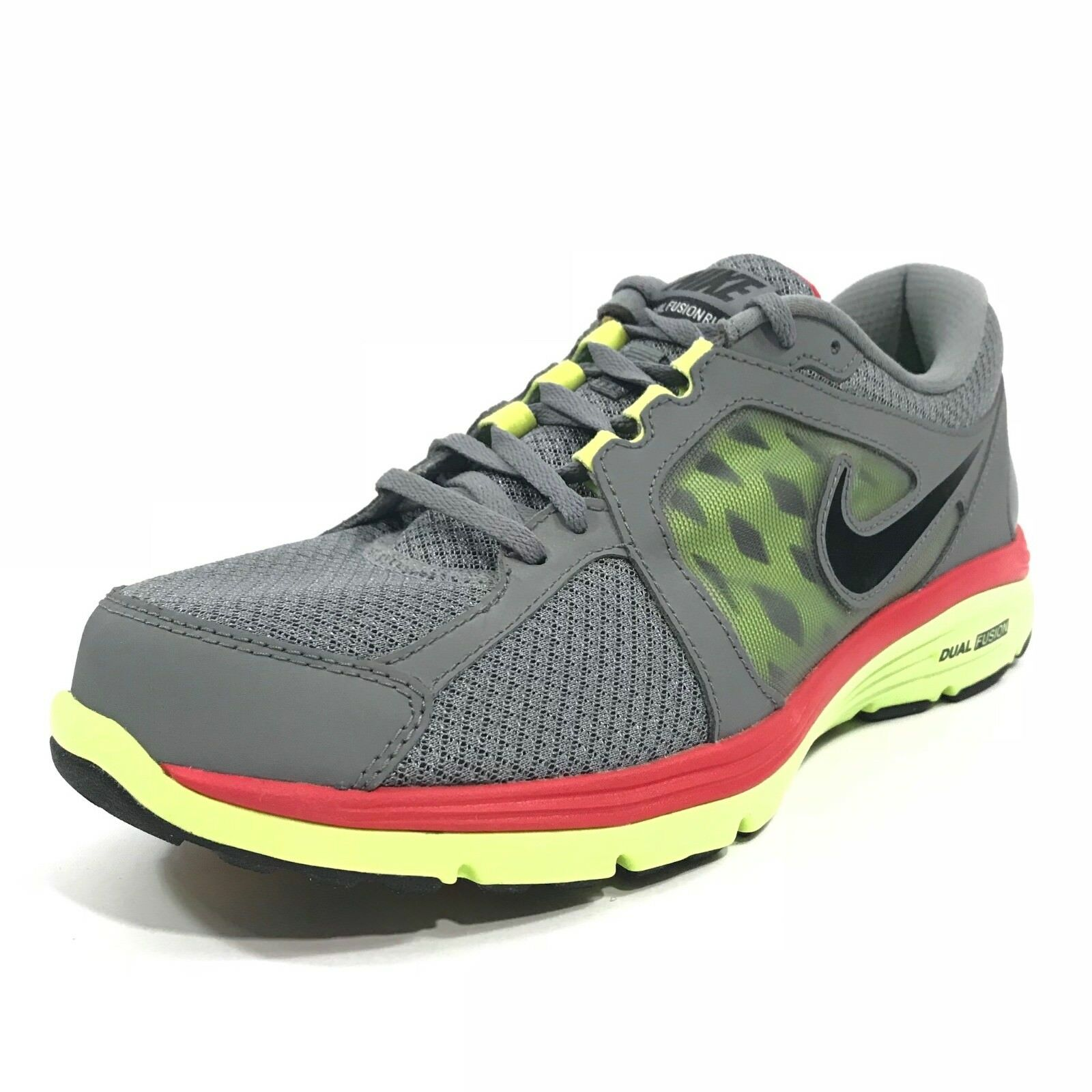 Nike Mens Dual Fusion Running Trainer Shoes Gray Red Yellow Sz 10.5 525760-002