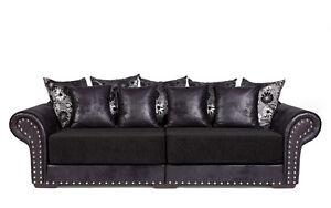 Couch Big Sofa Hawana-3 mit Schlaffunktion - Kolonialstil