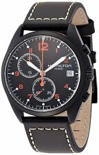 H76582733 Hamilton Pilot Pioneer Chronograph Black Dial Black Leather Mens Watch