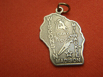 STERLING SILVER STATE OF DAIRY PRODUCTS MAP OF WISCONSIN CHARM PENDANT