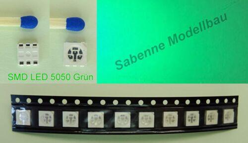 10 Stück SMD LED 5050 Grün Green 3 Chip PLCC-6 C2850