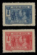 FRANCE ca.1920 PAIRE VIGNETTES FOCH ORPHELINS S.N.MEDAILLÉS MILITAIRES NEUVES**