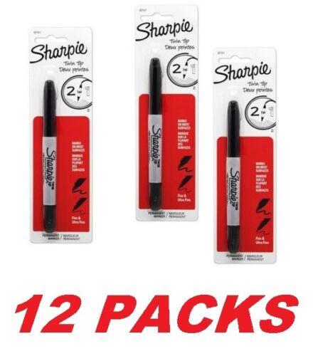 Ultra Fine Point Black Sharpie Twin-Tip Permanent Marker 12 Sealed PACKS