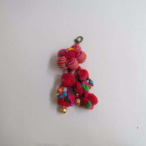 Flower Key Chain Hand Made cotton embroided with Pom Pom