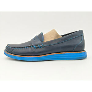 Cole Haan Lunargrand Monroe Navy Leather Penny Loafer ...