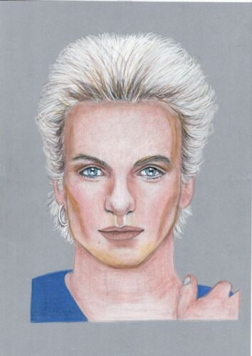 hand drawn Artwork Original Portrait Sting- from 1982 Quadraphenia  The Police