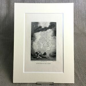 Details about Antique Print Jacobs Ladder Angels 19th Century Religious Bible story