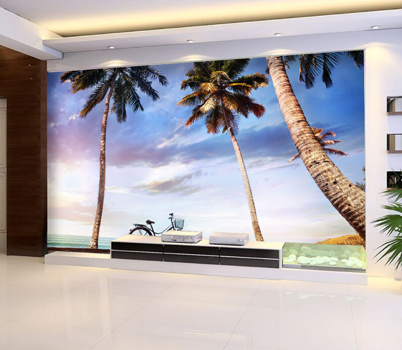 3D Seaside Trees Bicycle 216 Paper Wall Print Wall Decal Wall Deco Indoor Murals