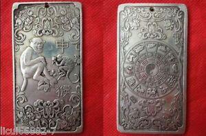 Old Chinese tibet Silver Chinese Zodiac monkey Bullion thanka amulet thangka
