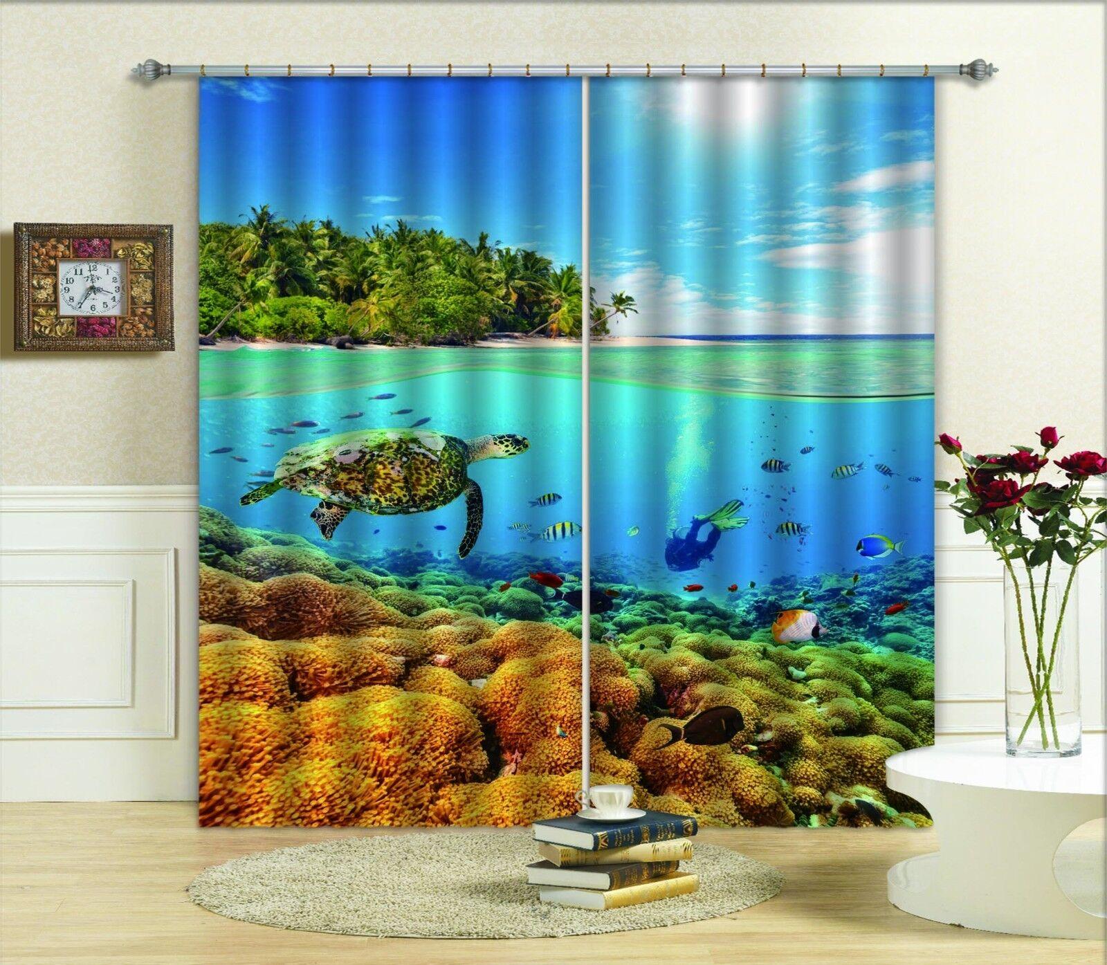 3D Ocean World 66 Cortinas de impresión de cortina de foto Blockout Cortinas Ventana De Tela