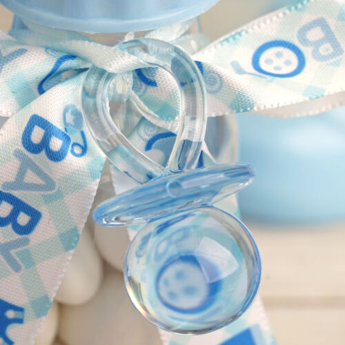60 pcs Light Blue Plastic Large Baby Pacifiers Favors Blocks Party Decorations