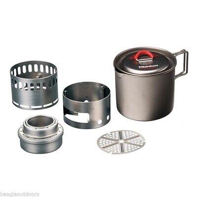 NEW Evernew Titanium Appalachian Set Stove Pot w//lid Windscreen Cookset ECA268R