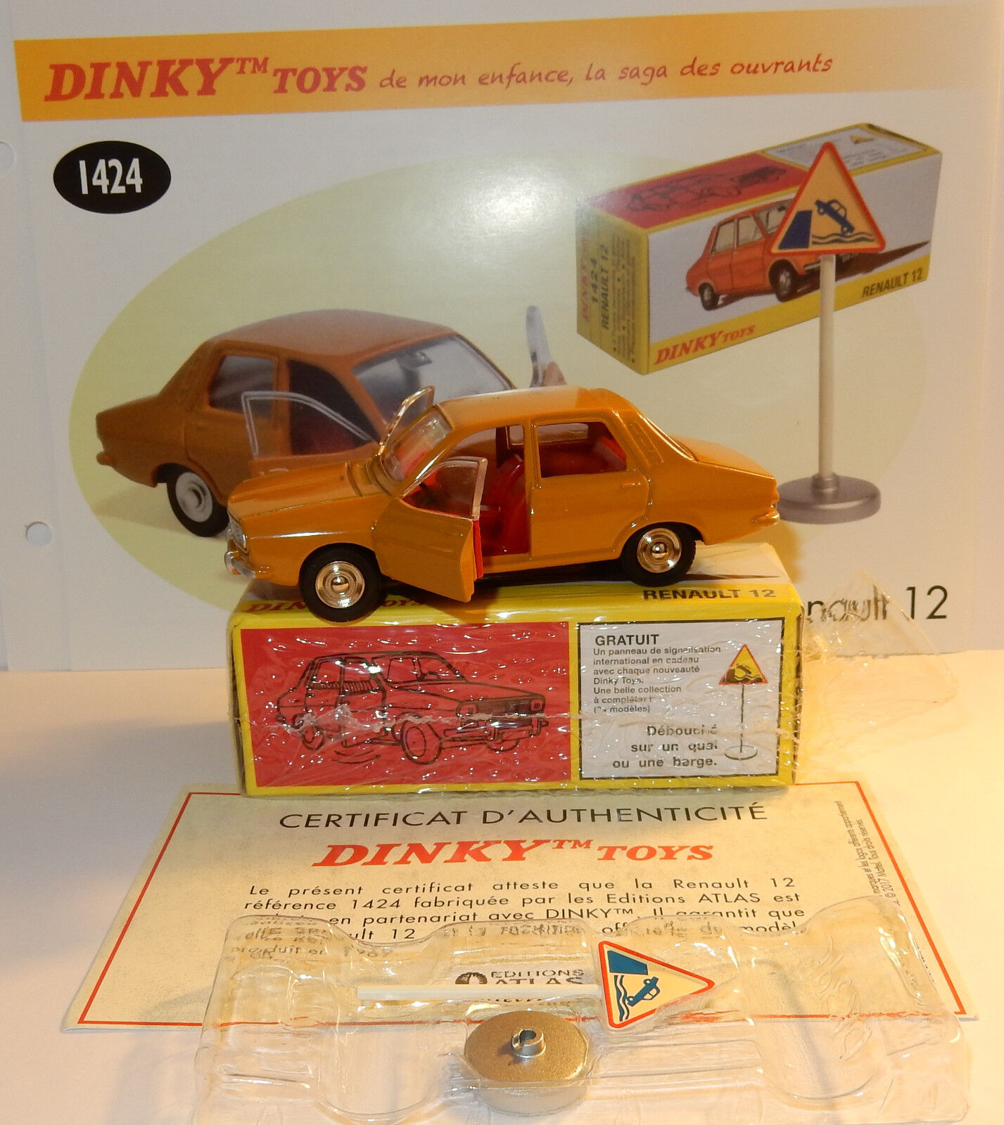 DINKY TOYS ATLAS RENAULT 12 R12 1969 LIGHT BROWN 1 43 REF 1424 IN BOX