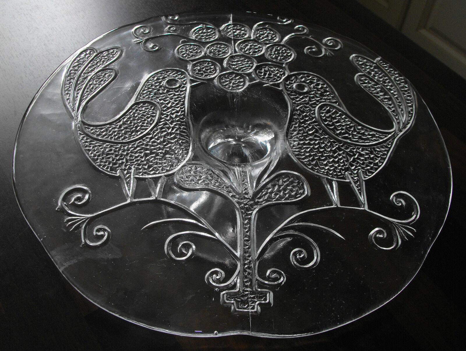 Glas-Tortenplatte auf Fuß schönes Muster 2 Vögel Tisch-Deko Valentin Ambiente   Zart