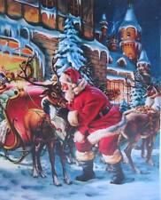 Santa Reindeer Sleigh Christmas vintage art