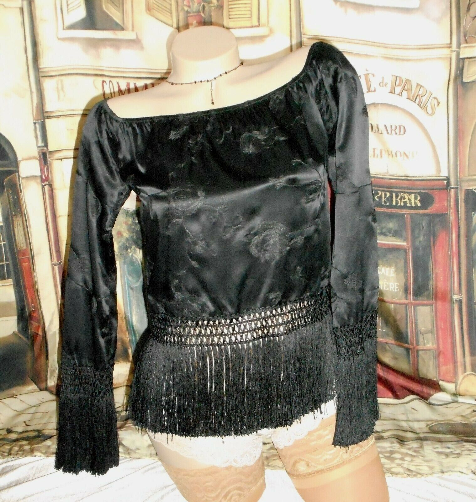 0 XS Black Silk Blouse Long Knotted Fringe Off Shoulder Flapper Sexy USA