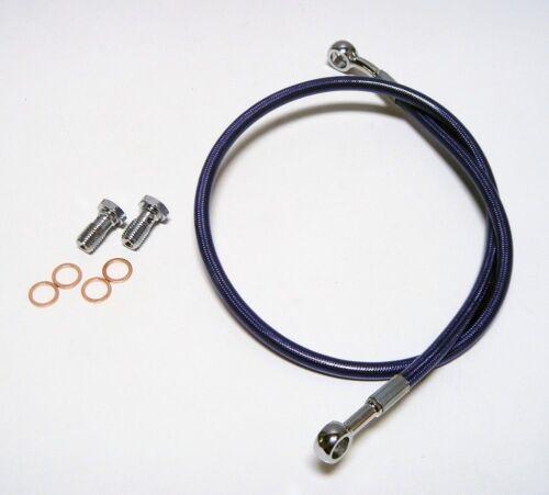 """STREAMLINE 2/"""" BLUE EXTENDED REAR STEEL BRAIDED BRAKE LINE SUZUKI LT-R450 2006+"""
