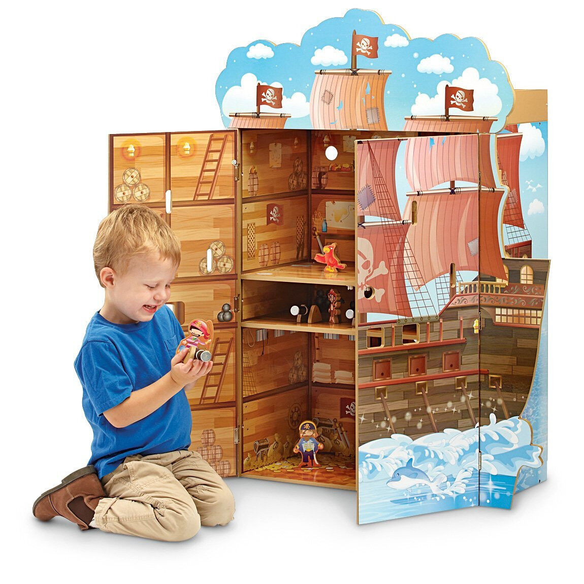 Teamson Kids Jugar House Con Estatuillas De Barco Pirata