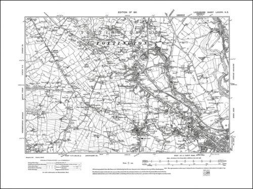 Tottington Lancashire 1911: 87NE repro Old map of Bury NW