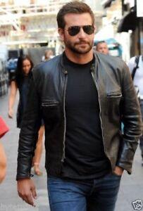 Men-039-s-Bradley-Cooper-Black-Cafe-Racer-Biker-Sheepskin-leather-Jackets-All-Sizes