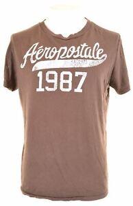 Aeropostale-Camiseta-Top-Grafico-de-hombre-grandes-marron-Algodon-IR30