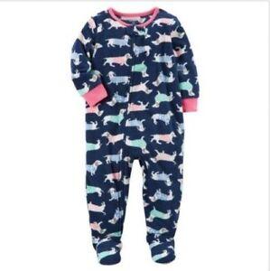 0c3f5f6e5 Carter's Girl's Sleepwear Fleece Footed Pajamas Dachshund Dog Blue ...