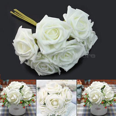 Mazzo 6x Rose Fiori Finto Color Avorio Addobbi Feste Matrimonio Diametro 7,5cm