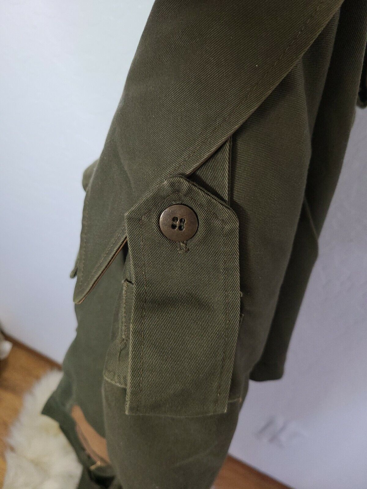 Classic Military Style Trench Coat, Olive Army Gr… - image 11