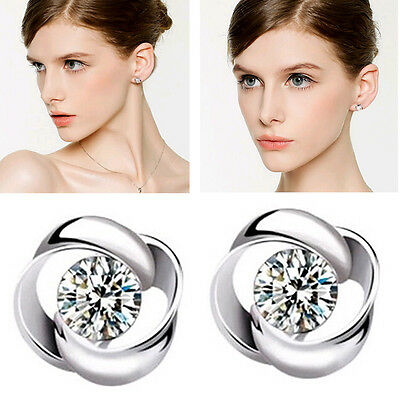 1Pair Silver Plated Clear Crystal Shiny Ear Stud Earrings Women Ladies Fashion