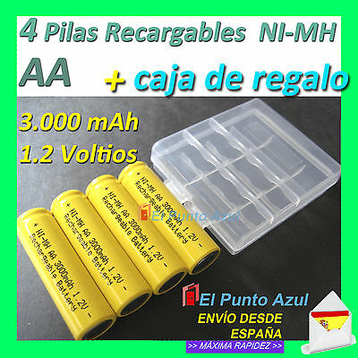 4 Pilas AA Recargables Baterias★3000mAh Amarillas 1,2 voltios Batteries Yellow