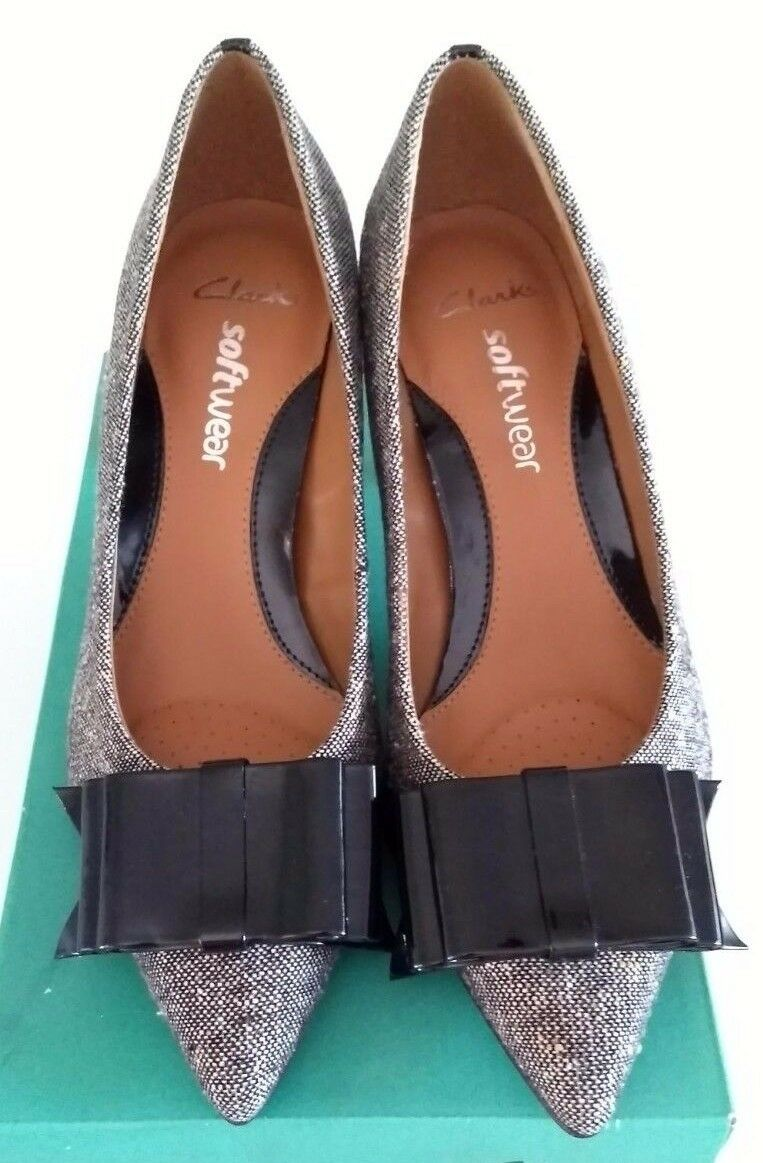 CLARKS Softwear Leather Ladies Court Patent Bow & heel Tweed shoes BNIB Size 5.5