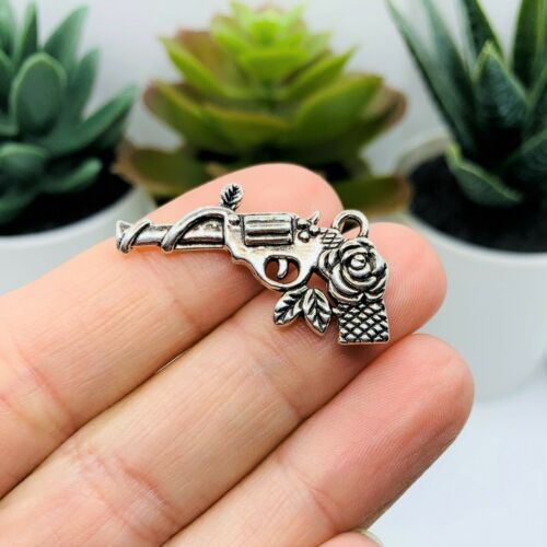 AS139 US Seller 4 or 20 pcs BULK Silver Gun with Rose Charms Double Sided