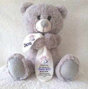96d540e57525f Details about PERSONALISED TEDDY BEAR GREY WITH BLANKET PAGE BOY WEDDING  ANY OCCASION GIFTS