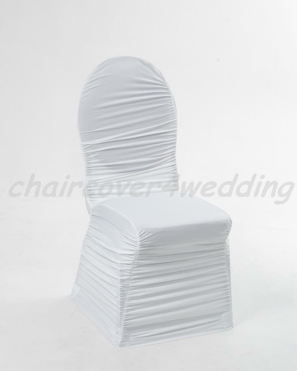 100 Spandex Ruched Ruched Ruched Chair Cover Without Diamante Weiß 550677