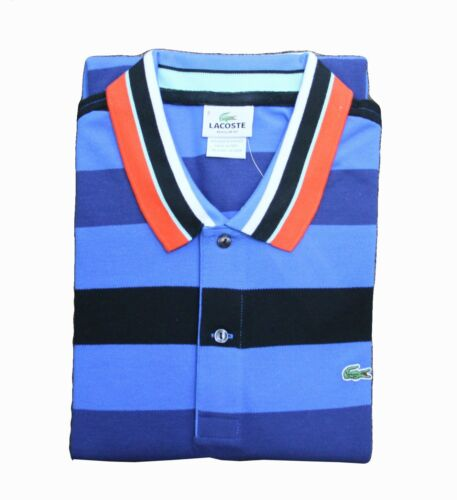 NEW LACOSTE BRAND MEN/'S PIQUE POLO SHIRT CROC LOGO MULTI BLUE TEE T-SHIRTS