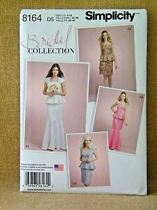 SIMPLICITY PATTERN 8164 BRIDAL DRESSES MISSES / PETITE SIZES 4 6 8 10 12 UNCUT
