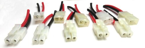 """Tamiya Pig Tail Connectors 18 or 14AWG Wire-Length 2.5/"""" or 5/""""   6 pcs or 10 pcs"""