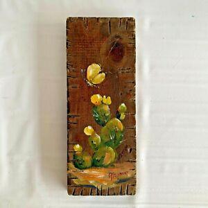 Vintage MCM Painting Desert Cactus Plaque Wall Hanging Southwest Art Wood RETRO