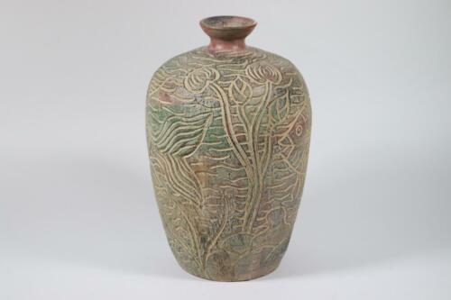 RK168 33 cm thailändische Blumenvase Vase Keramik geritzt Fischdekor